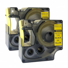 Tub termocontractibil compatibil Dymo 1805444, 24mm x 1.5m, Negru/Galben