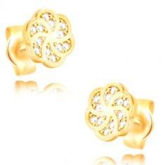 Cercei din aur de 14K - floare decorată cu zirconii transparente