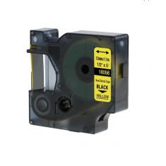 Tub termocontractibil compatibil Dymo 18056, 12mm x 1.5m, Negru/Galben