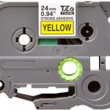 Banda laminata Strong compatibila BROTHER TZE-S651, Negru/Galben, 24mm x 8m