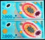Lot / Set 2 Bancnote Serii Consecutive 2000 Lei- ROMANIA, anul 1999 *cod 192 UNC
