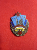 Insigna veche Fotbal- Flacara Ploiesti , metal si email ,h=2,3cm