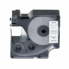 Banda vinil compatibila DYMO 18445 ID1, 19mm x 5.5m, Negru/Alb