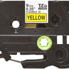 Banda laminata flexibila compatibila BROTHER TZE-FX621, Negru/Galben, 9mm x 8m