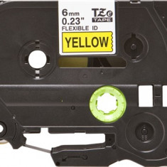 Banda laminata flexibila compatibila BROTHER TZE-FX611, Negru/Galben, 6mm x 8m