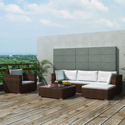 Set mobilier de grădină 17 piese, poliratan, maro foto