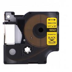 Banda vinil compatibila DYMO 1805431 ID1, 24mm x 5.5m, Negru/Galben
