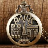 Ceas De Buzunar Stil Vintage - Turnul Eiffel , Arcul De Triumf , Paris - Suvenir