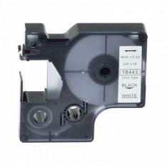 Banda vinil compatibila DYMO 18443 ID1, 9mm x 5.5m, Negru/Alb