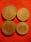 4 monede 1924 :  1 leu si 2 lei ,cu semn si fara semn monetar ,cal.F.Buna