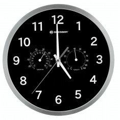 Bresser MyTime Thermo-/ Hygro- Wall Clock 25cm - negru