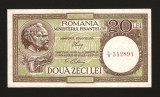 20 Lei 1947 - 1950 ,  AUNC ,  Luca / Ciobanu , fil.  RPR  orizontal. Fil 36