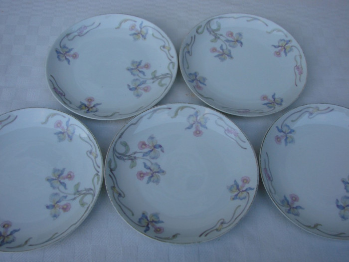 Set de cinci farfurii vechi pentru prajitura din portelan german ROSENTHAL