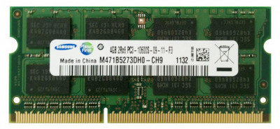 Memorie Laptop Samsung 4GB DDR3 PC3-10600S 1333Mhz 1.5V foto