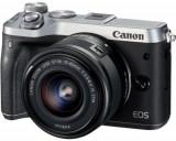 Aparat foto Mirrorless Canon EOS M6, 24 MP + Obiectiv EF-M 15-45mm IS STM (Negru/Argintiu)