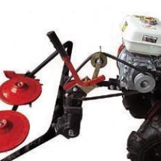 Cositoare rotativa cu doua discuri rotative/tamburi pentru motocultor, pe curea