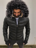 Geaca barbati groasa de iarna SlimFit Geaca neagra barbati Geaca fas barbati, L, Negru