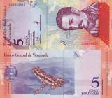 VENEZUELA 5 bolivares 15 ianuarie 2018 UNC!!!