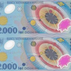 Bancnota Romania 2.000 Lei 1999 - P111 UNC ( polimer eclipsa - 2x consecutive )