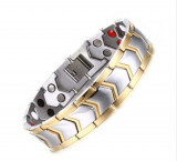 Bratara HB08 HEALTH Men Unidirection Gold Silver