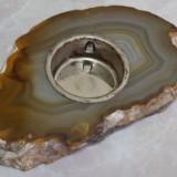 Suport pentru lumanare din geoda Agat