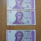 5 dinari 1991, 2 serii consecutive și una apropiata, UNC