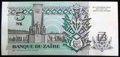 Bancnota 5 NOUA MAKUTA / ZAIRES - ZAIR, anul 1993   *cod 873 --- UNC! foto