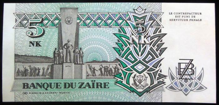 Bancnota 5 NOUA MAKUTA / ZAIRES - ZAIR, anul 1993   *cod 873 --- UNC!