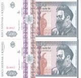 Bancnota Romania 500 Lei 1992 - P101b UNC (2 bancnote cu serii consecutive)