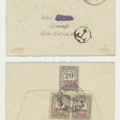 Romania ocupatia germana Primul Razboi plic 3 timbre porto MViR rare circulate