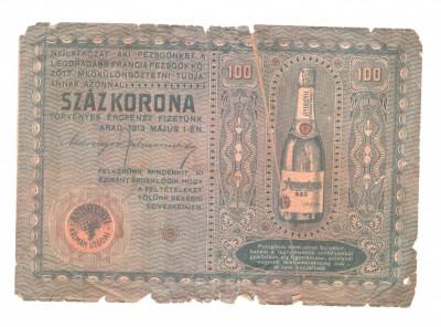 Reclama veche la sampanie, Arad, 1913, in lb. maghiara foto