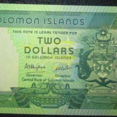 Insulelel Solomon : 2 dolari ND ( 1986 ) . UNC ( bancnota necirculata )