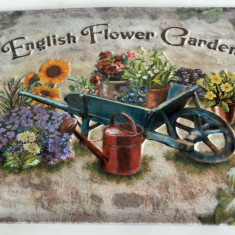 Reclama veche English, Flower, Garden - Bar, Cofetarie, Gelaterie - pe tabla