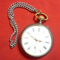 Ceas de buzunar Longines ,capace otel ,functioneaza ,d.ext.= 4,7cm