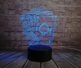 Lampa veioza Poker 3D iluzie laser led texas hold'em talisman masa birou +CADOU!