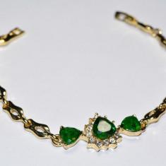 Bratara aur 14K Gold Filled Smarald Austria Cristal Elipse Taiat inima