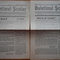 Ziarul Buletinul scolar Severin - Lugoj , 1947 , an 1 , numerele 1 , 2 ,  3 , 5