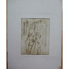 Gravura semnata olograf  , pictor roman , exemplar 4 / 4 ; Nud