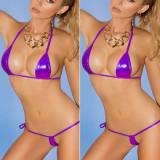 Set bikini sutien bretele invizibil metalic mini costum de baie tanga c-string, Din imagine, Marime universala