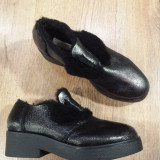 Pantofi dama noi piele gri metalizat imblaniti 37, Argintiu, Cu platforma
