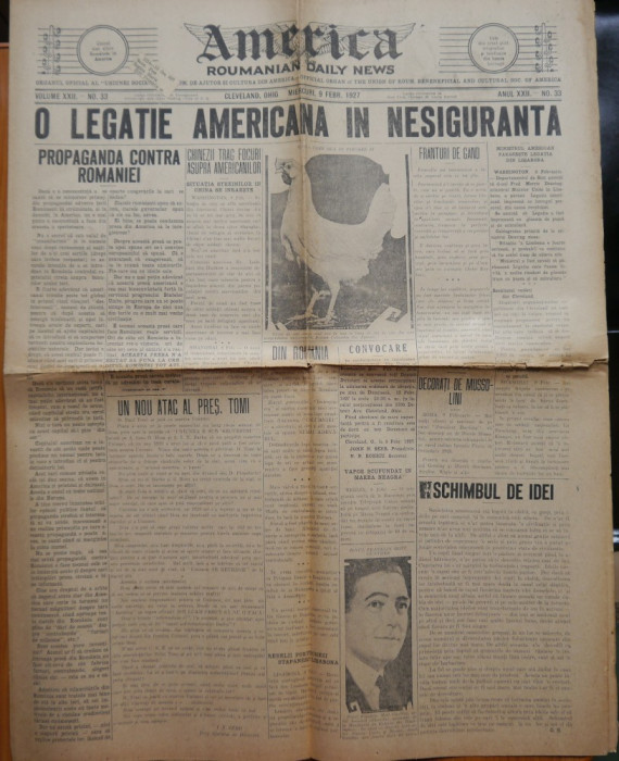 Ziarul America , nr. 33 din 1927 , Cleveland , Ohio , in limba romana