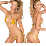 Set bikini sutien bretele invizibil metalic mini costum de baie tanga c-string, Auriu, Marime universala