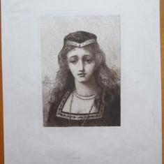 Gravura veche , semnata in placa ; personaj medieval