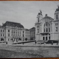 Cluj , centrul ; Carte postala tripla din perioada Dictatului de la Viena