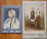 2 fotografii pe carton ; Costume populare romanesti , Bucovina , incep. secol 20