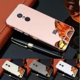 Husa / Bumper aluminiu + spate oglinda pt Xiaomi Redmi Note 5 / Redmi 5 Plus, Argintiu, Auriu, Negru, Roz
