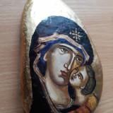 Icoana pe piatra Fecioara cu Pruncul, pictura manuala