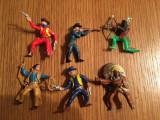 Lot mix 6 figurine indeni si cowboy plastic, cca 5cm
