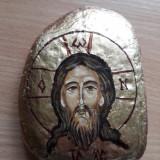 Icoana pe piatra Iisus Hristos, pictura manuala