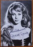 Autograf olograf al actritei Michele Mercier ; Filmografie : Sissi , Angelica